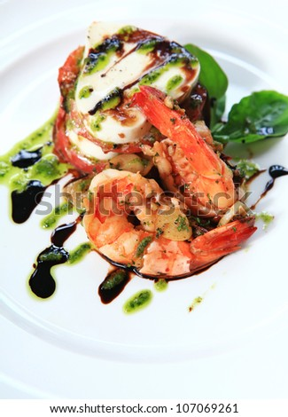 Prawns with parmesan cheese . - stock photo