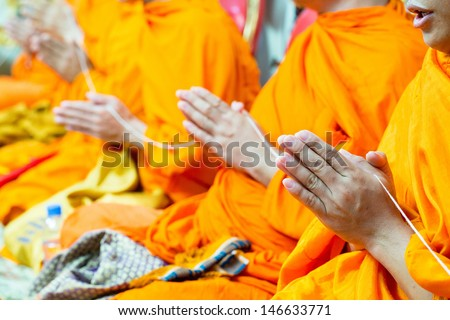 pray for Bride and Groom in Buddhism - stock photo