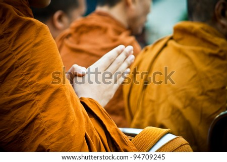 pray for faith in Buddhism - stock photo