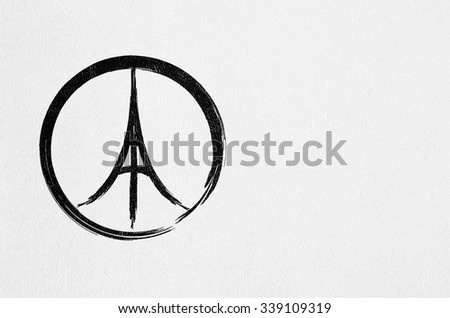 Pray for Paris, France and Peace symbol drawing on white sketchbook - Eiffel tower peace sign - stock photo