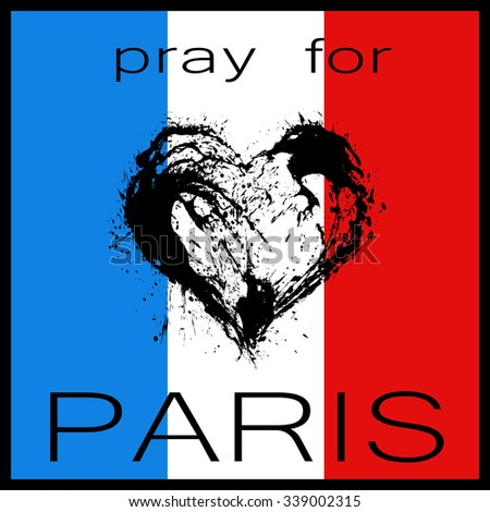 Pray for Paris. The symbolic image of a broken heart in the colors of the French flag. Date 13 11 2015 - the day of terrorist attack in Paris. - stock photo