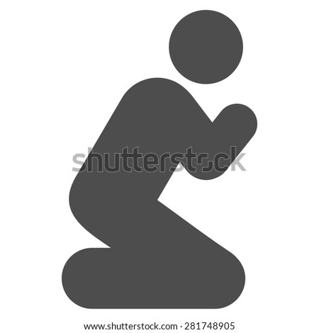 Pray icon from Man Poses Set. Style: monochrome gray icons, rounded corners, white background. - stock photo