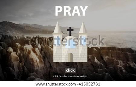 Pray Prayer Religion Spiritual Confession Faith Concept - stock photo