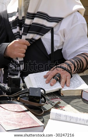 Prayer at the Western Wall in Jerusalem.Israel - stock photo