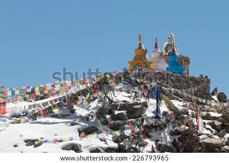 Prayer flag at Leh, Ladakh, India - stock photo