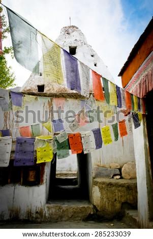 Prayer flag in Monastery at Leh Ladakh, India - stock photo