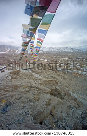 prayer flag on the rock, Leh, Ladakh, India,