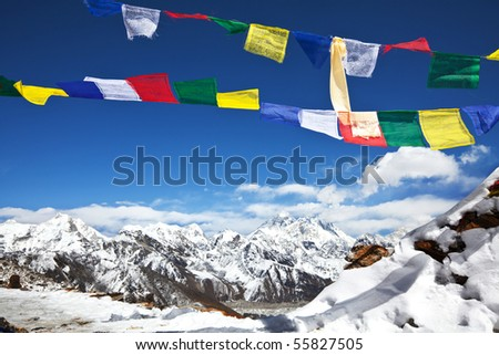 prayer flags in Himalayan - stock photo