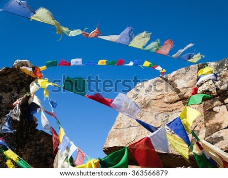 Prayer flags in himalayan pass, Nepal