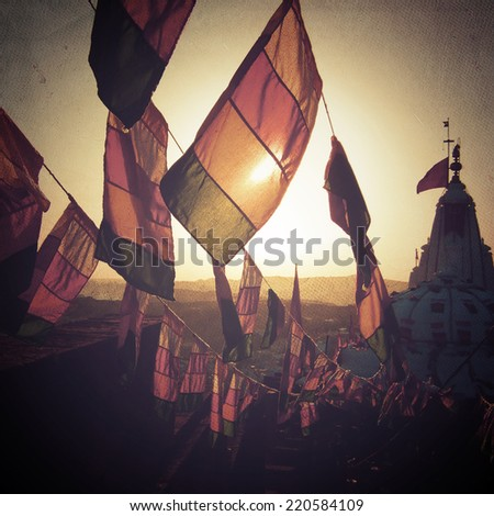 Prayer flags on top of a temple - stock photo