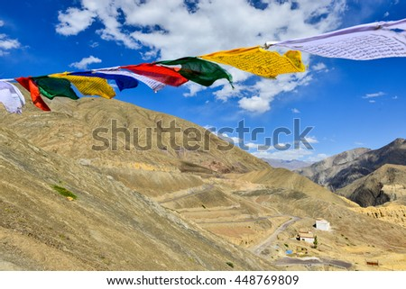Prayer flags with mountain in Lamayuru, Leh, Ladakh, India.