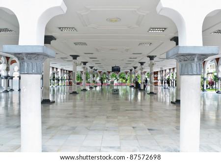Prayer Hall at Historic mosque, masjid Jamek at Kuala Lumpur, Malaysia, Asia - stock photo