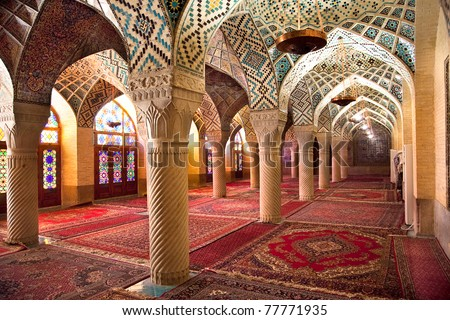 Prayer Hall of Nasir al-Molk Mosque, Shiraz, Iran - stock photo