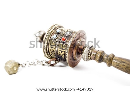 prayer wheels isolated in white - stock photo