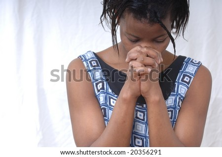 Praying African Model - stock photo
