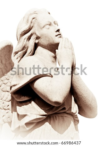 Praying angel in sepia tones isolated on white with clipping path - stock photo