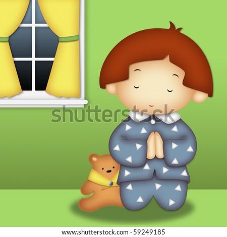 Praying boy wearing blue pajamas praying in his room - stock photo