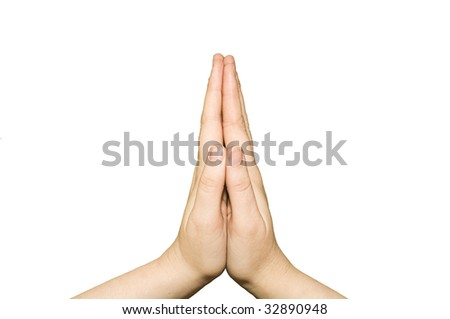 Praying female hands on a white background - stock photo