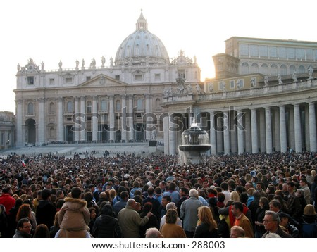 Praying  for the health of the pope at piazza san pietro in Rome. - stock photo