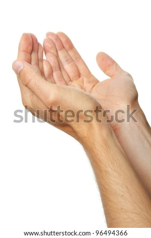 praying hands of a man isolated on white background - stock photo