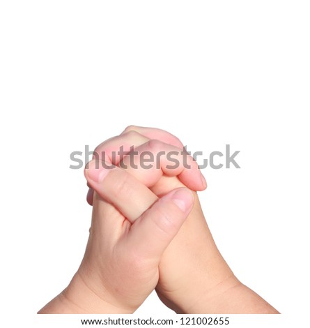Praying hands of woman isolated on a white background