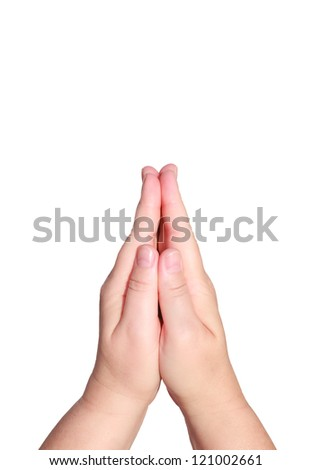 Praying hands of woman isolated on a white background - stock photo