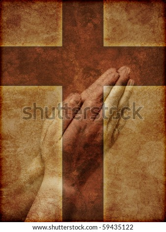 Praying Hands Superimposed over Christian Cross - textured illustration. - stock photo