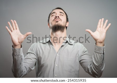 Praying Man silhouette - stock photo
