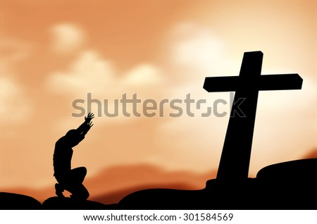 praying man with black cross silhouette in rocks over a  sky - stock photo