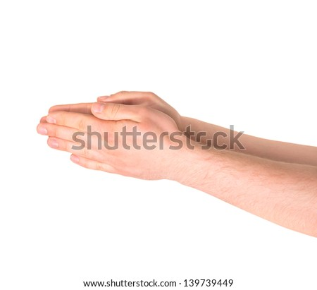 Praying or begging caucasian hand gesture isolated over white background - stock photo