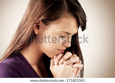 Praying. Praying girl - stock photo