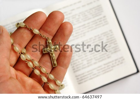 Praying to Jesus Christ with Bible, religious background