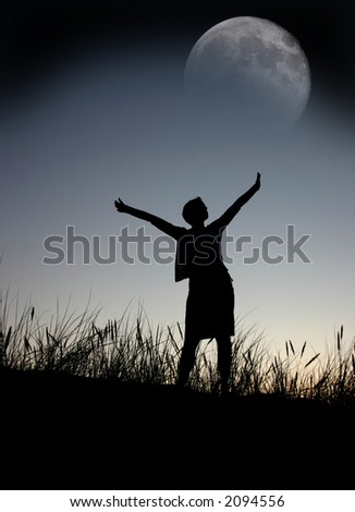 praying to the moon - stock photo