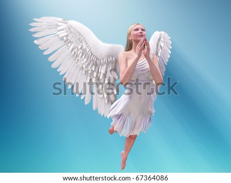 praying white angel - stock photo