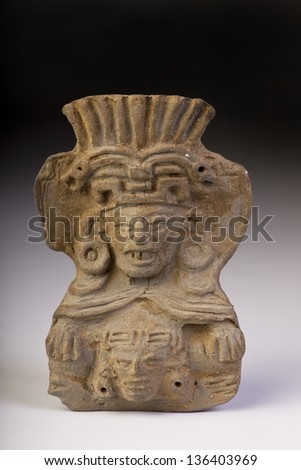 Pre Columbian double warrior made around 1000 AD. - stock photo