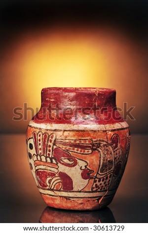 Pre-Columbian Mayan painted vase,made around 600AD - stock photo