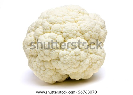 Pre Packed Cauliflower stripped of leafs isolated against white from low perspective. - stock photo