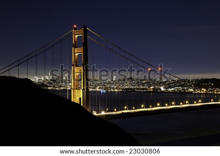 Pre-sunrise over the golden gate bridge