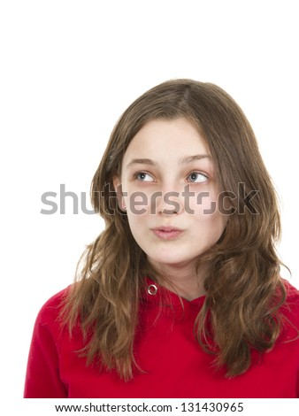Pre teen young girl posing on white background - stock photo