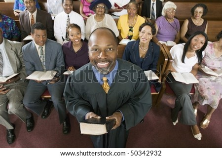 Preacher and Congregation, portrait, high angle view