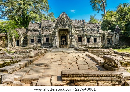 Preah Khan was built in 1191 during the reign of King Jayavarman VII. The central Buddhist temple included an image of the Boddhisattva Lokeshrvara, carved to resemble the King's father.
