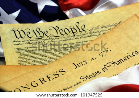 Preamble to the Constitution of the United States and American Flag - stock photo