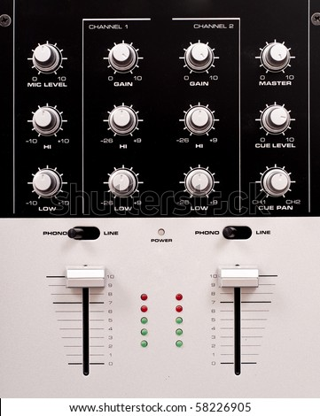 Preamp Mixing Station Knobs - stock photo