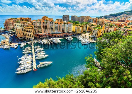 Precious apartments and harbor with luxury yachts in the bay,Monte Carlo,Monaco,Europe  - stock photo