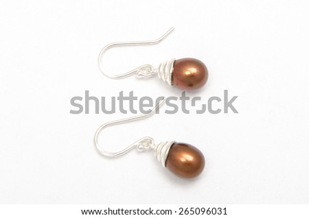 precious earrings isolated on white background - stock photo