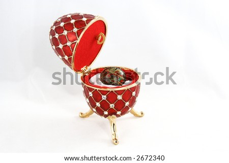 Precious Easter egg with jewels in it 3 - stock photo