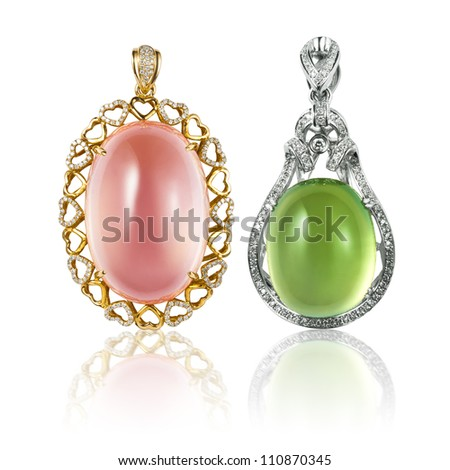 Precious stones inlaid pendant with diamond - stock photo