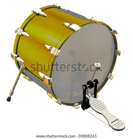 Precision kick drum isolated on white - stock photo
