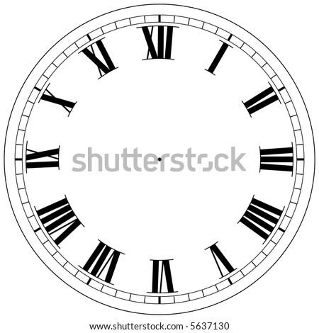 precision roman clock face template - stock photo