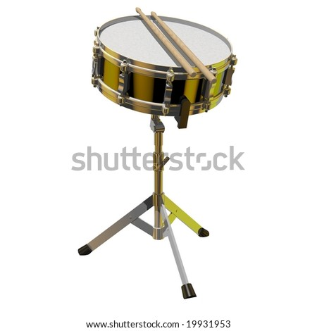 Precision snare drum on a stand isolated on white - stock photo